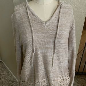 Sweaters - Hooded crochet sweater